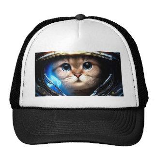 Cat astronaut trucker hat