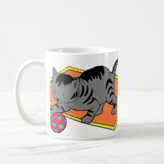 cat at play mug