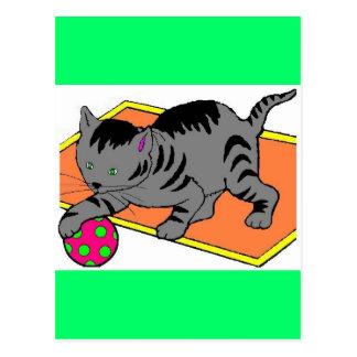 cat at play postcard