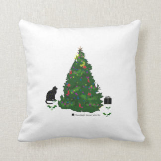 Cat At The Christmas Tree Throw Pillow