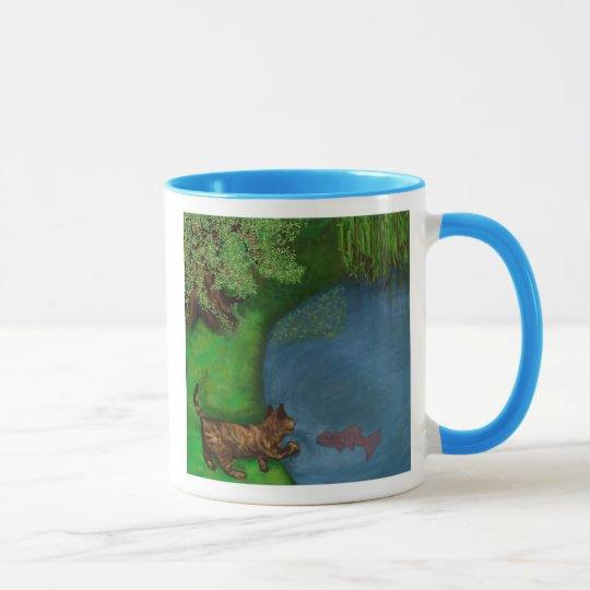 cat at the pond mug
