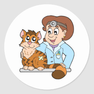 Cat at veterinarian classic round sticker