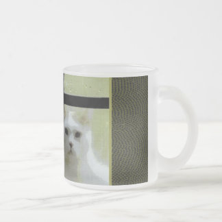 Cat at Window Frosted Glass Coffee Mug