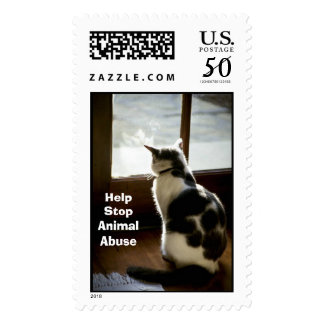 Cat at window postage