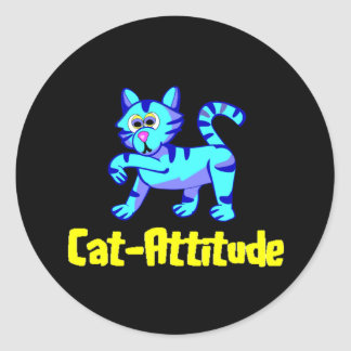 Cat-Attitude Classic Round Sticker