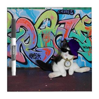 Cat Attitude.....Kitten and Graffiti Wall Dry Erase Whiteboard