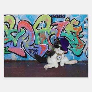Cat Attitude.....Kitten and Graffiti Wall Yard Signs