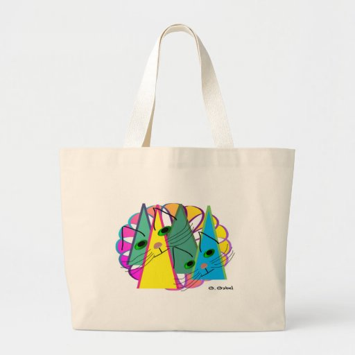 Cat Attitudes, Cat Lover Abstract Art Gifts Canvas Bag