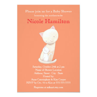 Cat Baby Shower Invitation Mom Baby Cat Invitation
