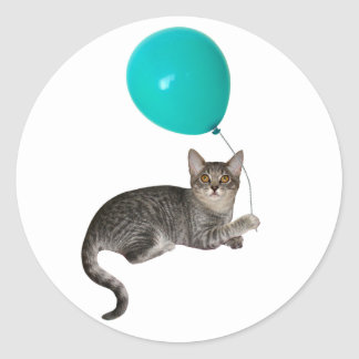 Cat Balloon Classic Round Sticker