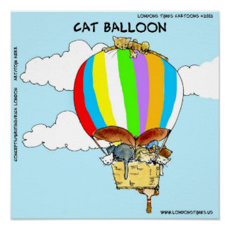 Cat Balloon Funny Poster