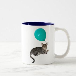 Cat Balloon Two-Tone Coffee Mug