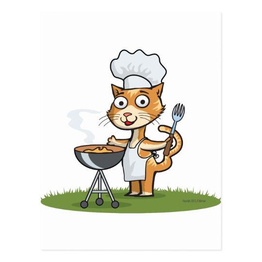 Cat Barbecue Postcard