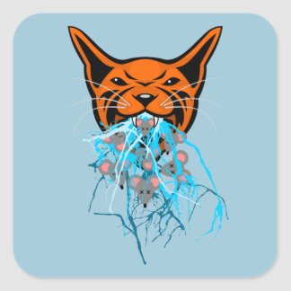 Cat Barf Mouse Heads Square Sticker