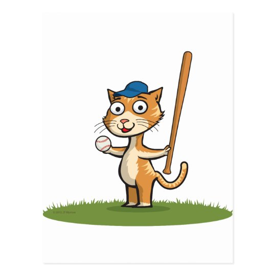 Cat Baseball Postcard