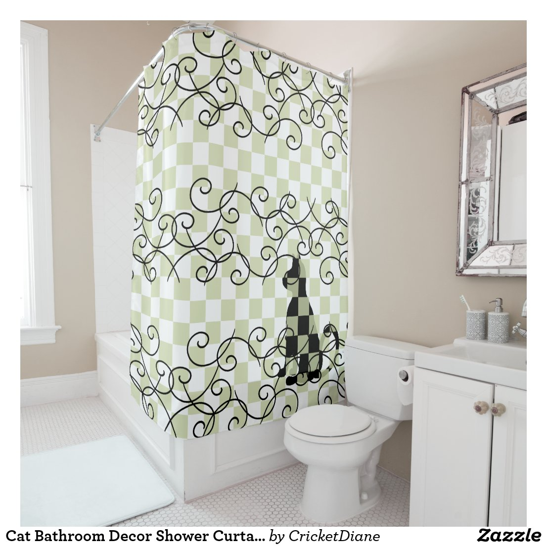 Cat Bathroom Decor Shower Curtains CricketDiane