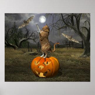 Cat Batting Bats Poster