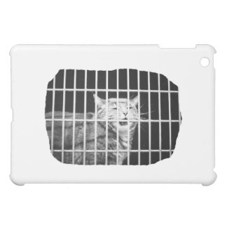 Cat behind bars with mouth open mean kitty iPad mini covers