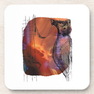 Cat Behind Bass Merged Singer Picture Sketch Beverage Coasters