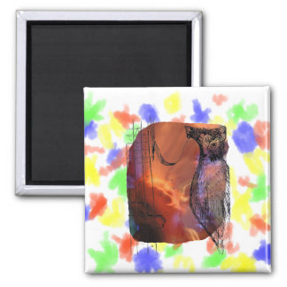 Cat Behind Bass Merged Singer Picture Sketch 2 Inch Square Magnet