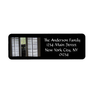 Cat Behind Shutters black/white return address Label