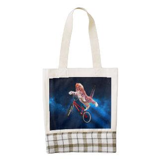 Cat bike - cat freestyle - funny cat zazzle HEART tote bag