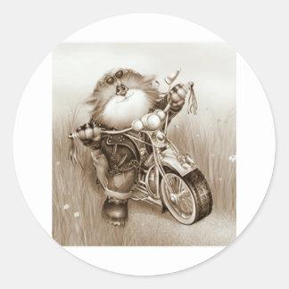cat biker round sticker