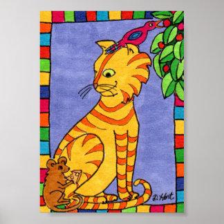 Cat, Bird and Mouse Mini Folk Art Poster