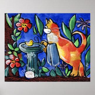 Cat & Bird Bath Posters