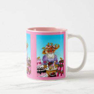 Cat, bird, cake, Marie Antoinette Two-Tone Coffee Mug