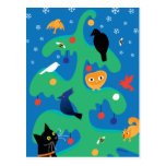 Cat Bird Christmas Tree Holiday Postcard