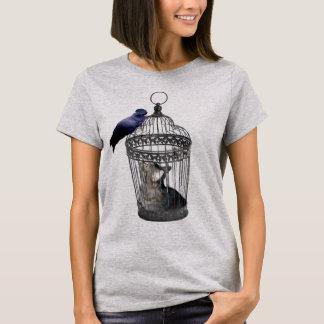Cat_Bird_Role_Reversal, _Ladies_Grey_T-shirt. Playera