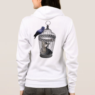 Cat_Bird_Role_Reversal,_Ladies_Hooded_Sweatshirt. Hoodie