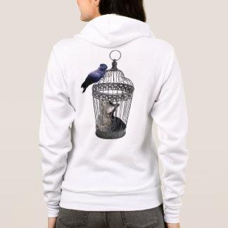 Cat_Bird_Role_Reversal, _Ladies_Hooded_Sweatshirt. Sudadera