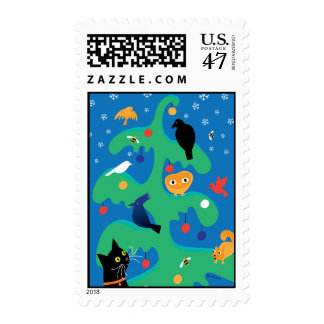 Cat Bird Tree Holiday Postage