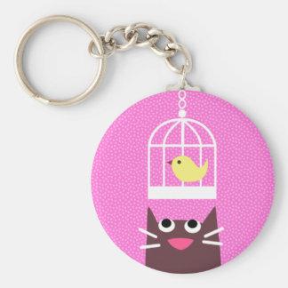 Cat & Birdcage Basic Round Button Keychain