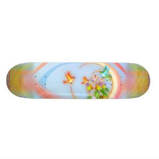 Cat & Birds Pixel Art Skateboard