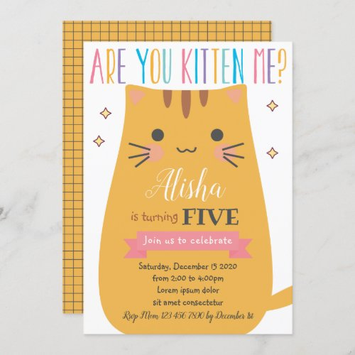 Cat Birthday Invitation