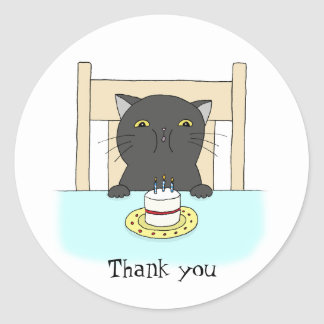 Cat Birthday Party Favor Sticker Funny Thank You
