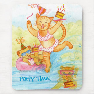 Cat Birthday Pool Party Mouse Pad