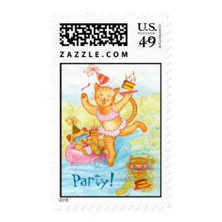 Cat Birthday Pool Party Postage Stamp