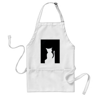 Cat - Black and White Cat Silhouette Art Decor Aprons