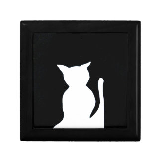 Cat - Black and White Cat Silhouette Art Decor Jewelry Box