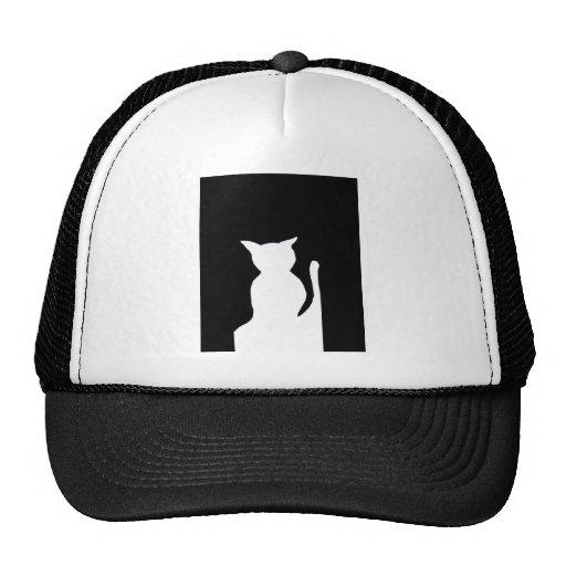 Cat - Black and White Cat Silhouette Art Decor Trucker Hats
