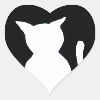 Cat - Black and White Cat Silhouette Art Decor Heart Sticker