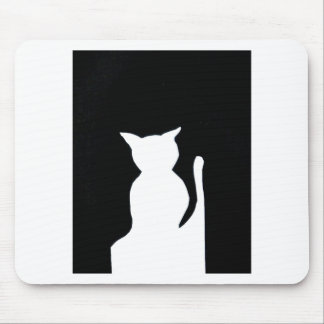 Cat - Black and White Cat Silhouette Art Decor Mouse Pads