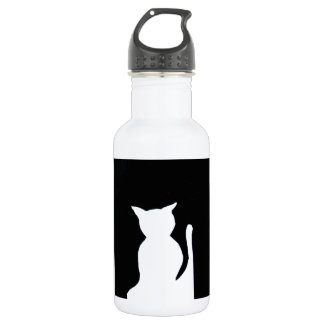 Cat - Black and White Cat Silhouette Art Decor 18oz Water Bottle