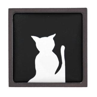 Cat - Black and White Cat Silhouette Art Decor Premium Trinket Boxes
