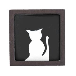 Cat - Black and White Cat Silhouette Art Decor Premium Trinket Box