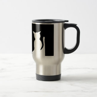 Cat - Black and White Cat Silhouette Art Decor Travel Mug